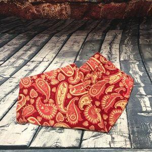 LulaRoe red & cream paisley leggings